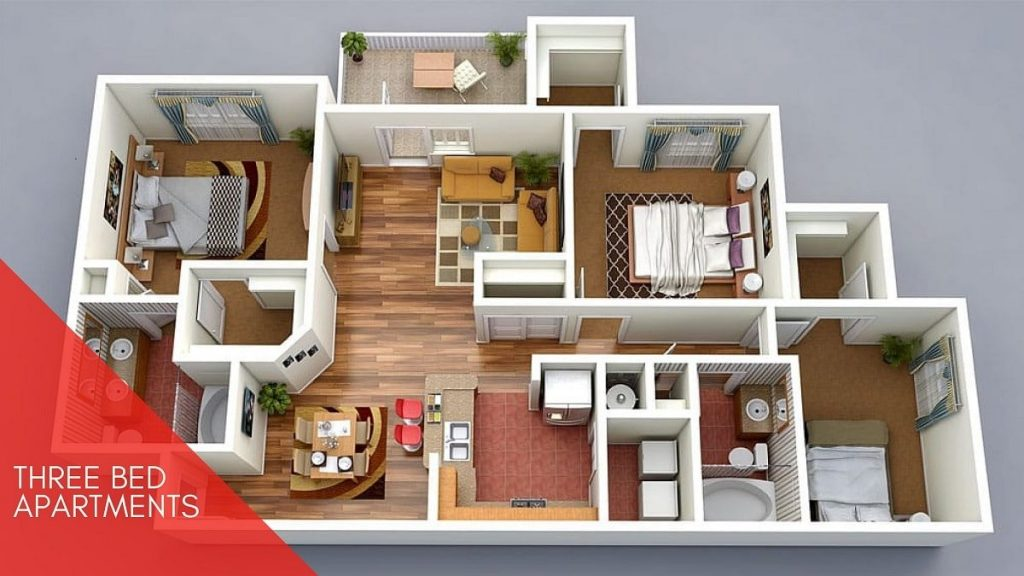 3 bed apartment Shanghai Heights 3d Plan-min