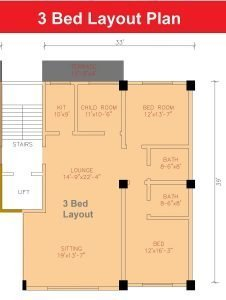 3 bed layout plan apartment Shanghai Heights-min